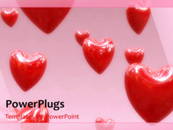 PowerPoint Template - Flying read hearts background